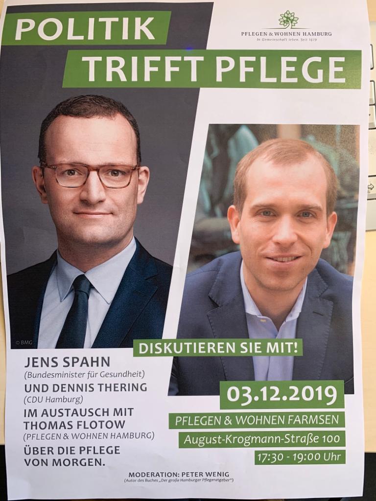 Diskutieren Sie mit Jens Spahn und Dennis Thering im Austausch mit Thomas Flotow (Pflegen & Wohnen Hamburg) über die Pflege von Morgen.